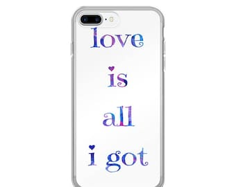 Quote iPhone Case --- love is all i got purple typography art print apple iphone cases plastic snap on rigid case scratch resistant