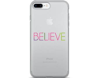 Believe Apple Case - clear iphone cases typography art she believed she could minimalist case apple iphone plus all models slim fit plastic