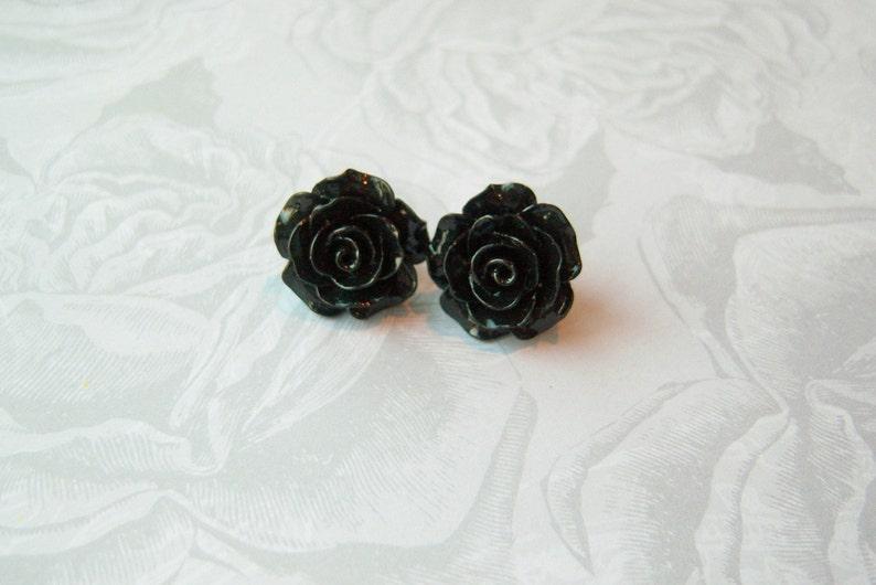 New  Large Black Rose Earrings image 0