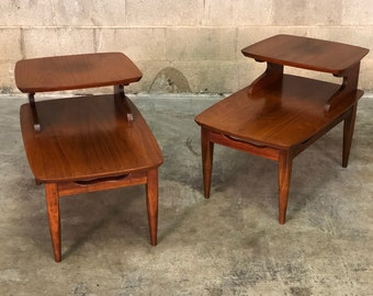 Mid Century Modern 2 Tier End Table Nightstand Etsy