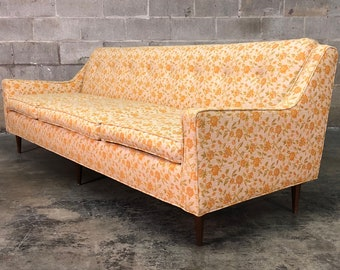 Vintage Mid Century Modern Sofa Floral Design ~ Style Of Selig