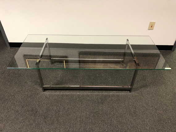 855d335555f62 Mid-Century Modern Chrome Base   Glass Top Coffee Table