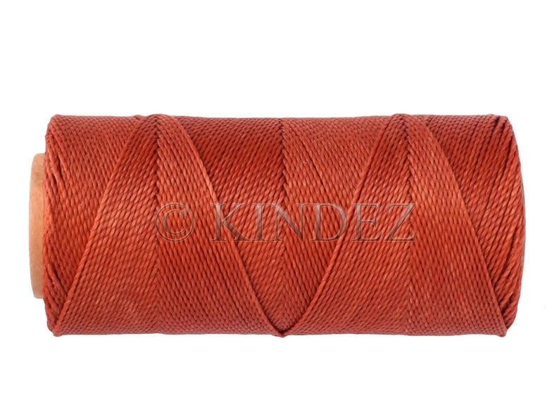 Knotting Cord TerraCotta Waxed Polyester Cord 15 Meters 16 yards 15 meters16 yards Macrame Cord Linhasita 234 Waxed Thread