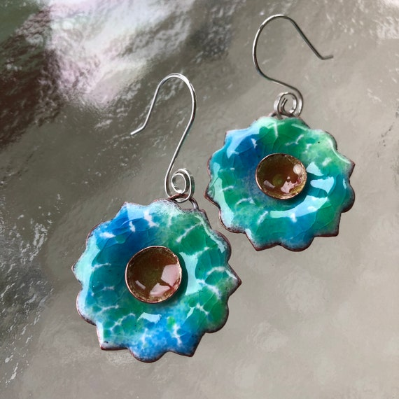 Drop Earrings Carnelian Floral Earrings Tropical Inspired Hypoallergenic Earwires Turquoise /& Orange for TeenWomen Enamel on Copper