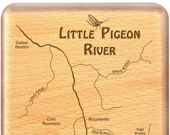 Little PIGEON RIVER Lakes Map Fly Box. Personalized, Custom Laser Engraved Handcrafted Gift. Includes Name, Inscription, Art. Fishing TN