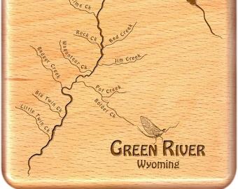 Fly fishing map art | Etsy