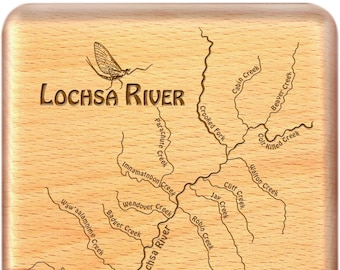 LOCHSA RIVER Map Fly Box. Personalized, Handcrafted, Custom Designed, Laser Engraved Gift. Includes Name, Inscription, Art. Fly Fishing ID
