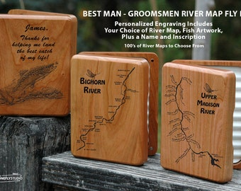 GROOMSMEN GIFT Fly Box. Personalized, Custom Engraved. Choice of Pre-designed River Map, Name, Inscription, Art. Fly Fishing Groom, Best Man