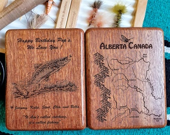 PERSONALIZED DAD GIFT Fly Fishing Box. Custom Designed, Laser Engraved with Pre-Designed River Map, Name, Inscription, Art. Handcrafted usa