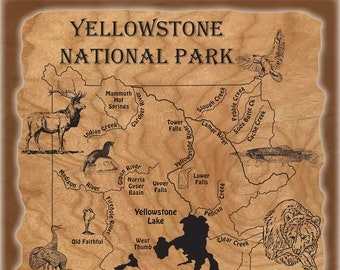YELLOWSTONE NATIONAL PARK River Map Wildlife Poster 16x20. Original Stonefly Studio River Map Printed on Quality Rip Stop Poster Material.