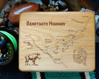 BEARTOOTH HIGHWAY River Map Fly Box. Personalized, Handcrafted, Custom Laser Engraved Gift. Includes Name, Inscription, Art. Fly Fishing MT