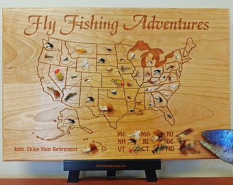 FLY FISHING ADVENTURES Plaque 12x18. Personalized, Handcrafted, Custom Laser Engraved Gift. Cherry Wood. U.S. River Map. Flies Not Included.