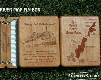 PERSONALIZED FLY BOX Dad Fishing Gift. Handcrafted, Custom Laser Engraved with your Pre-Designed River Map Choice, Name, Inscription, Art.