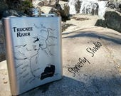 Truckee River Map Flask f...