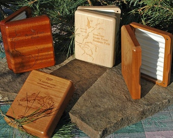 """Custom Fly Box """"NEW RIVER DESIGN""""  Includes New River Map Design, Personalized Name, Inscription, Fly Fishing Art. Engraved Handcrafted Gift"""