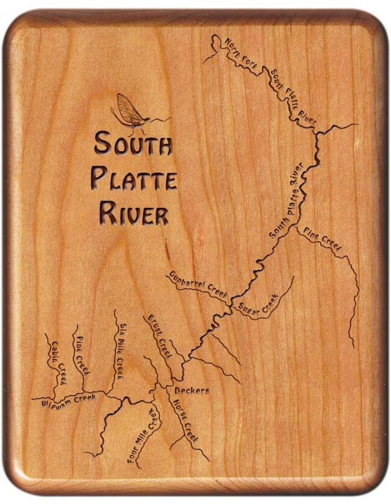 Deckers Colorado Map.South Platte Deckers River Map Fly Box Fly Fishing Co Etsy
