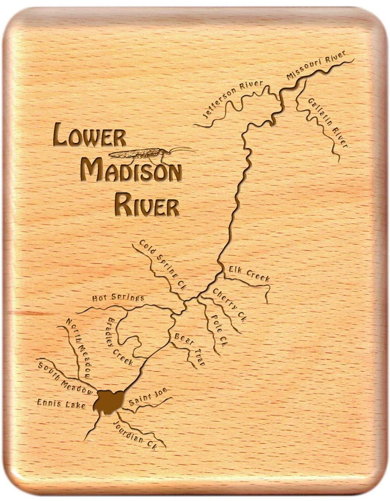 Madison River Montana Map.River Map Fly Box Lower Madison River Handcrafted Custom Etsy