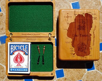 """LAKE TAHOE Cribbage Box. Personalized, Custom Laser Engraved Gift. Map Back. Board Front with Name, Inscription, Art. Travel Size. 4.75x 6"""""""