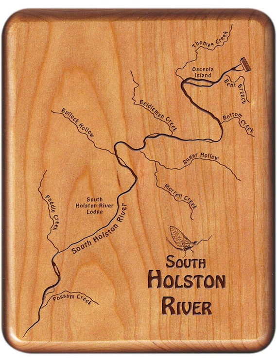 Fly Fishing Tennessee Map.South Holston River Map Fly Box Handcrafted Custom Etsy