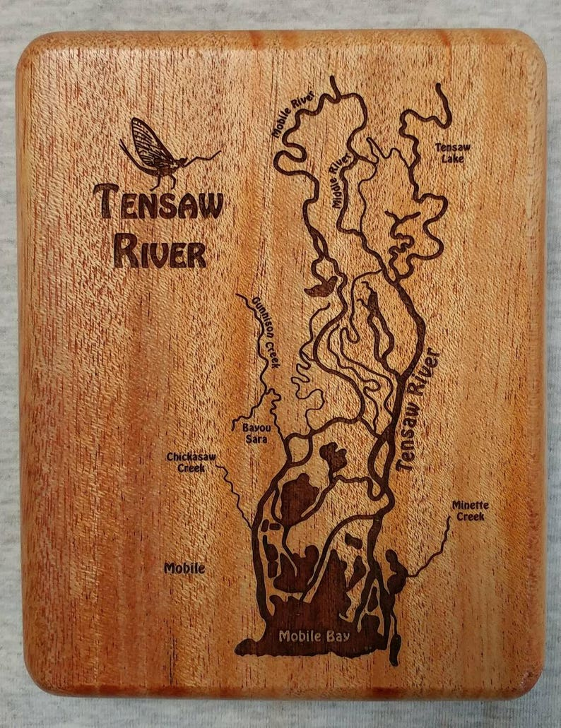 TENSAW RIVER Map Fly Box  Handcrafted Custom Designed Laser image 0