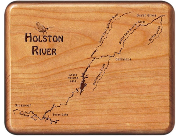 Fly Fishing Tennessee Map.Holston River Map Fly Fishing Fly Box Custom Engraved And Etsy