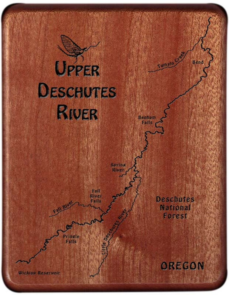 DESCHUTES RIVER, Upper - Custom Fly Box - Handcrafted, Custom Designed,  Laser Engraved  Includes Name, Inscription, Artwork  Fly Fishing OR