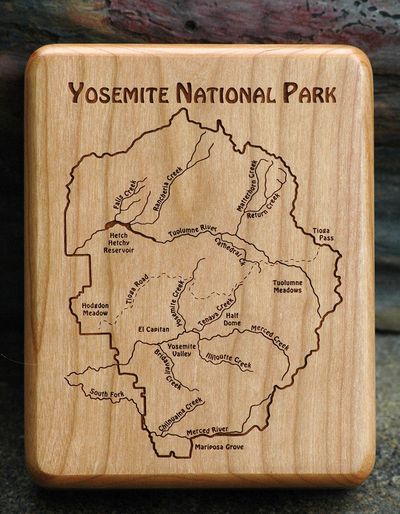 YOSEMITE NATIONAL PARK River Map Fly Box  Handcrafted Custom image 0