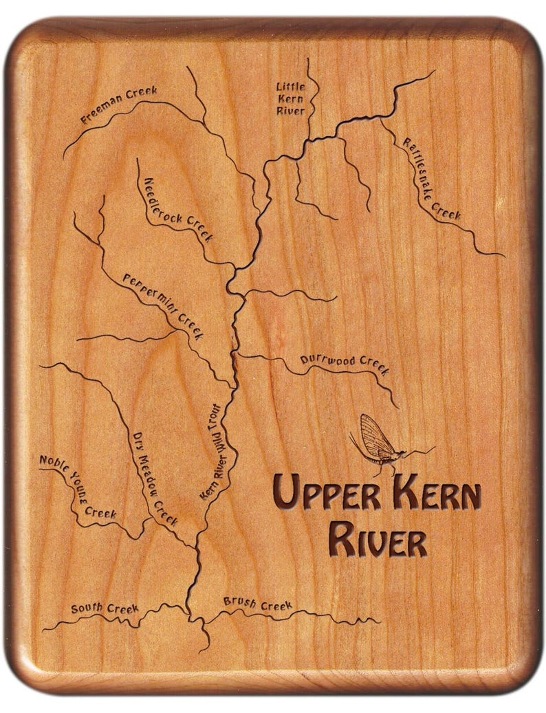 Upper Kern River Map Fly Box - Handcrafted, Custom Designed, Laser  Engraved  Includes Name, Inscription, Artwork  Fly Fishing California