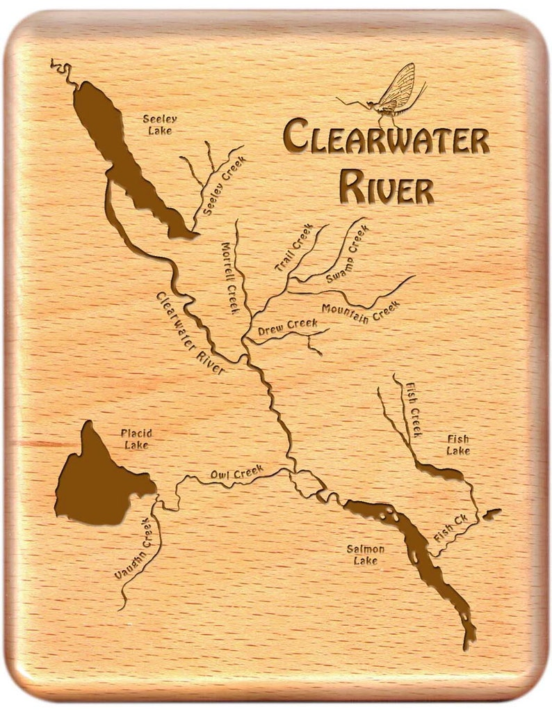 Fly Box - CLEARWATER RIVER MAP - Handcrafted, Custom Designed, Laser  Engraved  Includes Name, Inscription, Artwork  Fly Fishing Montana