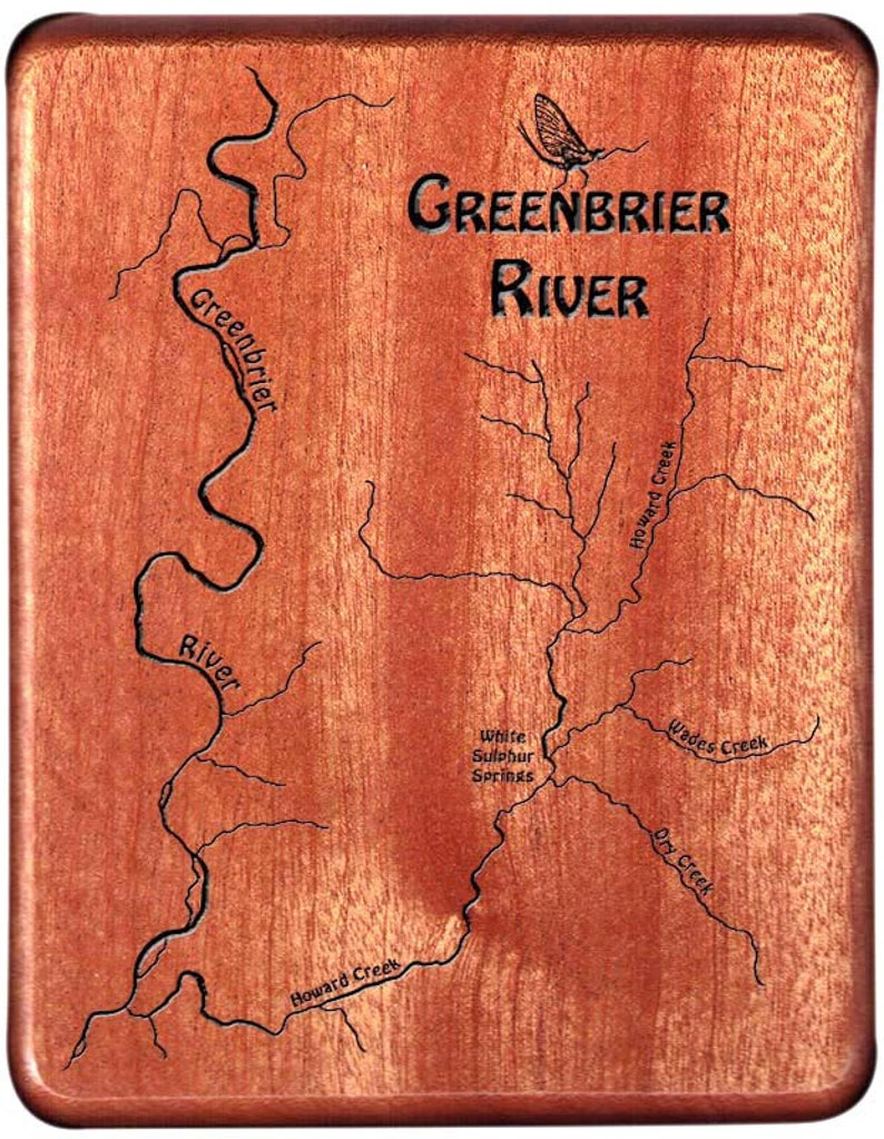 GREENBRIER RIVER Map Fly Box  Handcrafted Custom Designed image 0