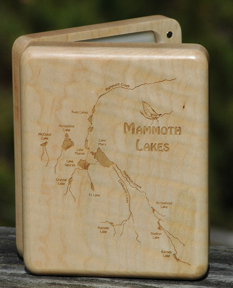 MAMMOTH LAKES River Map Fly Box  Handcrafted Custom image 0