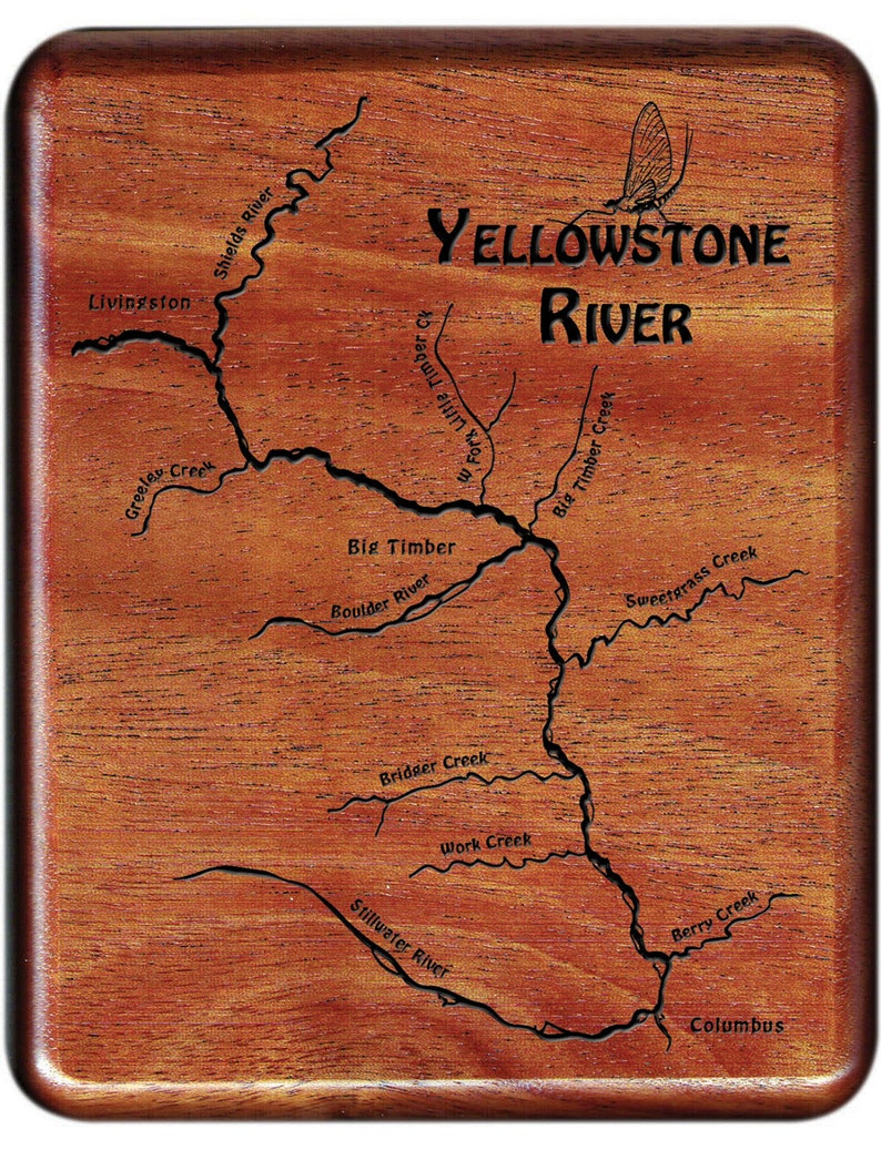 Yellowstone River Map Fly Box, Middle - Handcrafted, Custom Designed, on platte river, ohio river, missouri river, marias river map, snake river map, st. croix river map, yellowstone national park, gallatin river map, platte river map, columbia river map, san joaquin river map, illinois river, bighorn river map, yellowstone caldera, montana map, colorado river map, minnesota river map, grand prismatic spring, red river, hudson river map, great salt lake map, snake river, arkansas river, osage river map, mississippi river map, glacier national park, great falls, arkansas river map, wabash river, grand canyon of the yellowstone, bitterroot mountains map, penobscot river map, tennessee river map, tennessee river, old faithful geyser, green river, cascade range map,