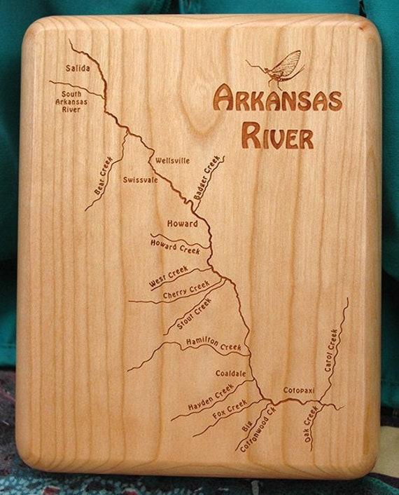Fly Box ARKANSAS RIVER MAP Fly Fishing Salida Colorado - Handcrafted,  Custom Designed, Laser Engraved. Includes Name, Inscription, Artwork