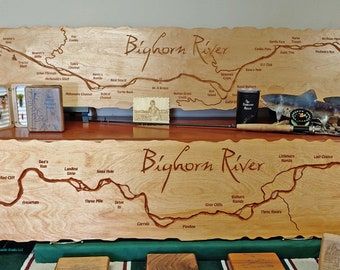 BIG HORN River Map Mantle Signs. 1x5' Personalized, Handcrafted, Baltic Birch Wood, Custom Lodge, Cabin, Office Décor Wall Art Plaque. MT