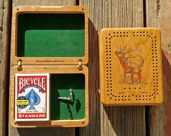 Wildlife CRIBBAGE BOX Personalized - Choose Cribbage Board Art (Front); Add Name & Inscription (Back). Engraved. Travel Size Handcrafted MT