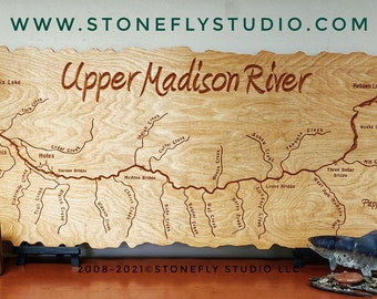 UPPER MADISON River Map Mantle Sign. 2x5' Personalized, Handcrafted, Custom Baltic Birch Wood Lodge, Cabin, Office Décor Wall Art Plaque. MT