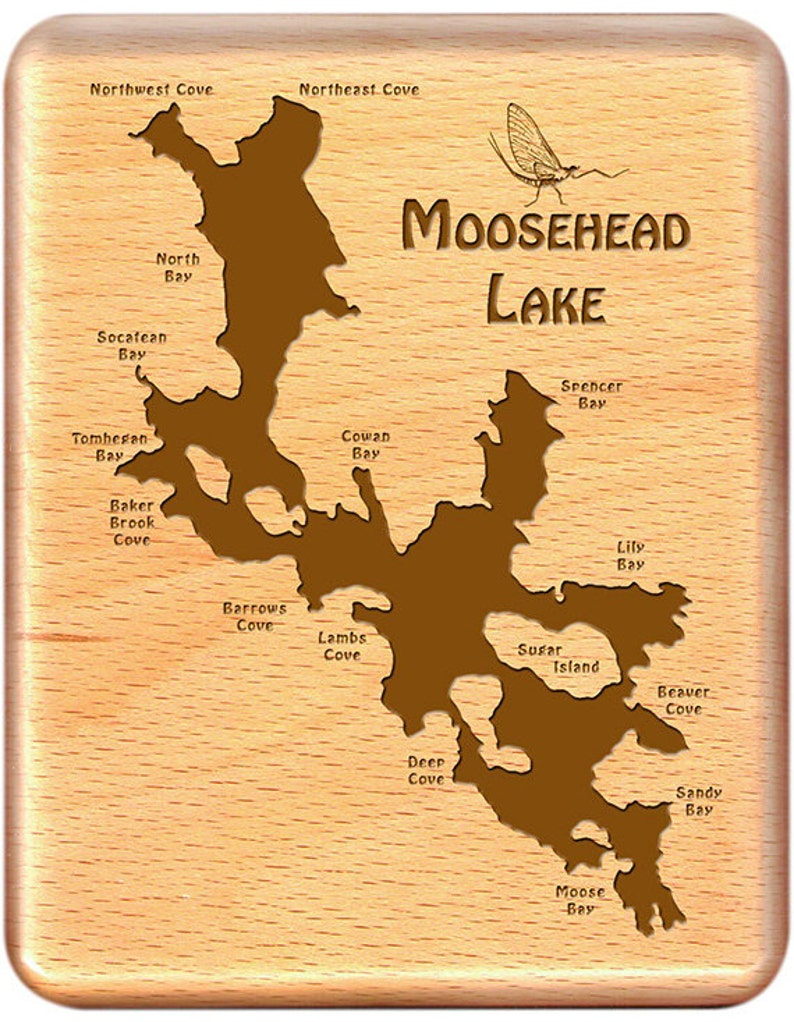 Moosehead Lake Map Fly Box MOOSEHEAD LAKE River Map Fly Fishing Maine | Etsy