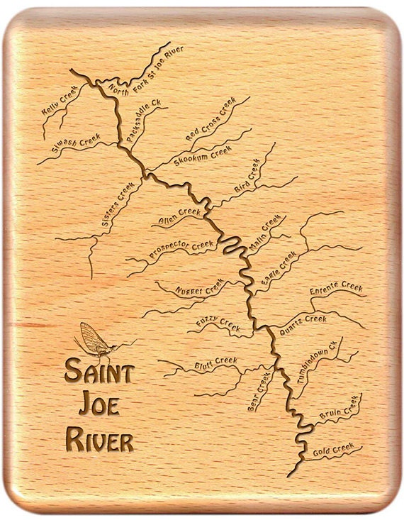 Saint Joe River Map Fly Box Handcrafted Custom Engraved Etsy
