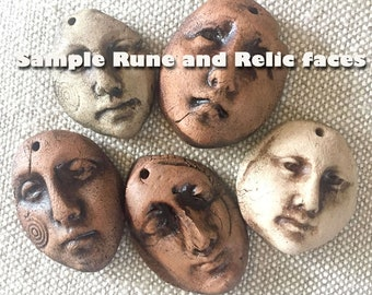Three Rune and Relic Earthenware Faces