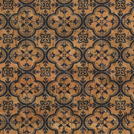 Portuguese cork fabric 7 Printed pattern 100x140cm Cork leather green product