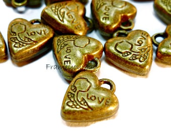 14 pcs pendant Heart (Love) Antique Brass (P19)
