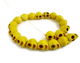 Yellow Howlite Skull Beads 12mm (1.5 mm hole) 20 items SK003