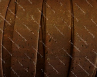 1 meter/ 39 in - Flat cork Leather cord Brown - 20mm x 2mm (European product)