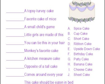 24 personalized name that cake bridal shower game