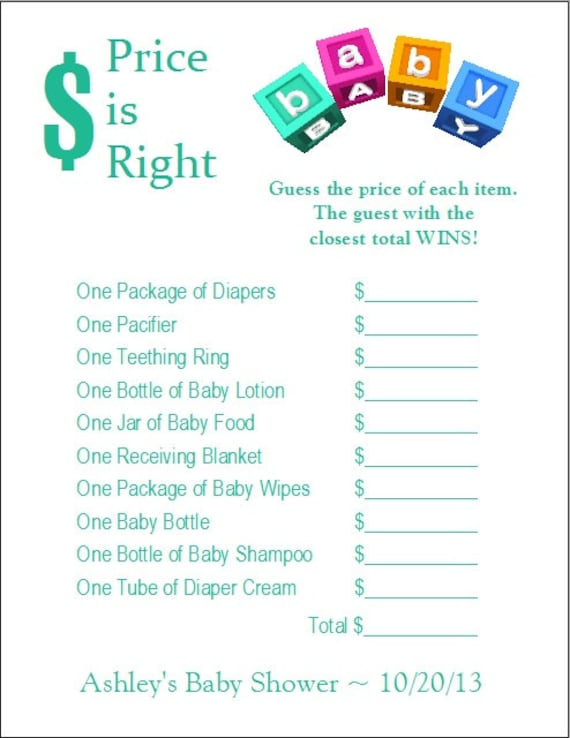 Items similar to 24 Personalized PRICE IS RIGHT Baby ...