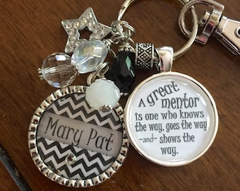 MENTOR GIFT, a great mentor knows the way shows the way and goes the way present Personalized black white chevron star charm quote boss gift