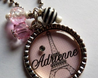 Personalized Eiffel Tower Bezel Pendant Necklace children name, bff gift, personalized gift, christmas gift, birthday gift, name, custom