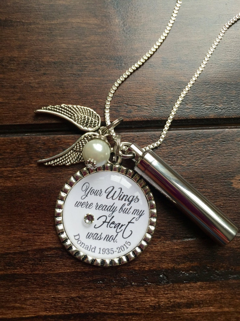 bd8db9b2bcbaa Personalized Cremation necklace, Your Wings were ready but my Heart was not  keepsake urn, loss of loved one pendant, keepsake ashes pendant