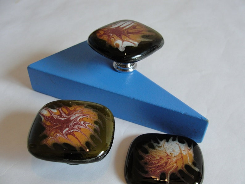 Recycled Glass Cabinet Knob with Swirled Enamels Glass Cabinet Knob with Glossy Fused Enamel Colors Fused Glass Drawer Pull