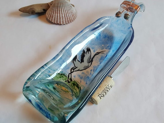 Cobalt Blue Melted Wine Bottle Cheese Tray Snack Dish Spoon Rest
